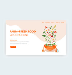 farm fresh food online website landing page vector image