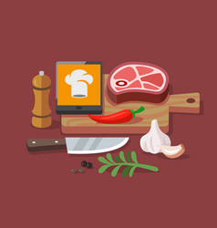 Flat concept cooking at home vector