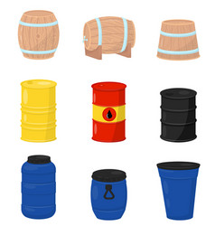 Flat set of various barrels wooden vector