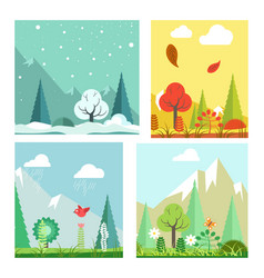 four seasons nature landscape winter summer vector image