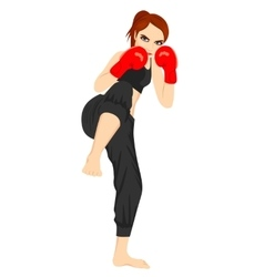 Full body portrait of female kick boxer vector