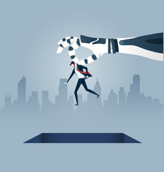 Giant robotic arm holds a small businessman vector