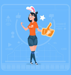 girl hold thumb up modern video blogger vlog vector image