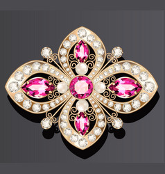 Gold jewelry brooch with rubies and pearls vector