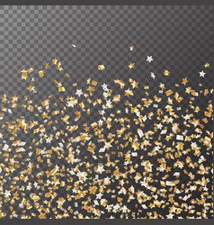Golden stars confetti seamless pattern vector