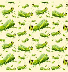 green grasshopper seamless background vector image