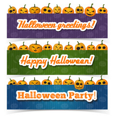 greeting happy halloween horizontal banners vector image