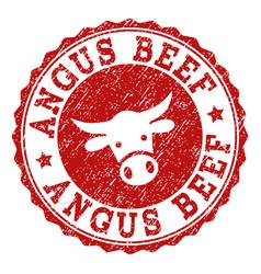 Grunge angus beef stamp seal vector