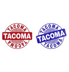 Grunge tacoma textured round watermarks vector