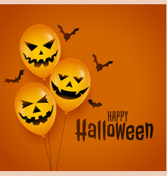 halloween balloon with scary faces and bats vector image