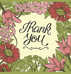 hand lettering thank you made on floral background vector image