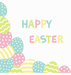 Happy easter colorful text painted egg corner vector