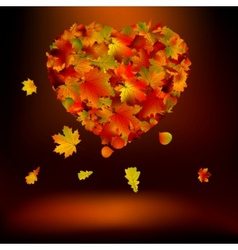 heart with autumnal leaves eps 8 vector image