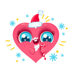 heart with santa beard vector image
