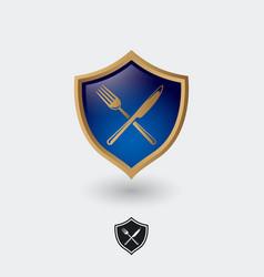heraldic icon restaurant with utensils vector image