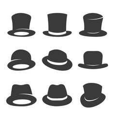 hipster and gentleman hat icon set vector image