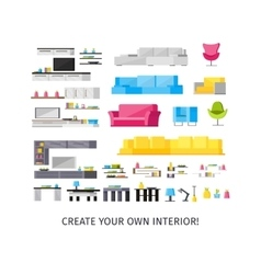 Home Interior Orthogonal Elements Set vector image