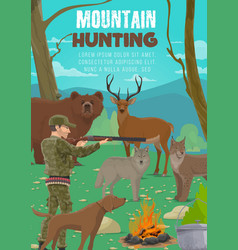 Hunter with animals rifle and hunting dog vector