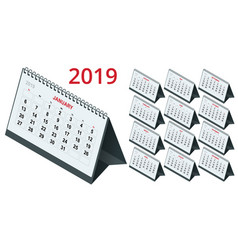 isometric template calendar 2019 week starts on vector image