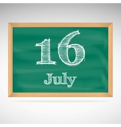 July 16 day calendar school board date vector