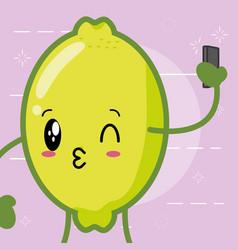 kawaii lemon cartoon character vector image