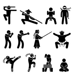 kung fu martial arts self defense chinese wushu vector image