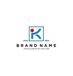 Letter k cross plus hospital medical logo design vector