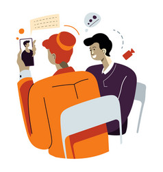 man and woman talking online with family members vector image