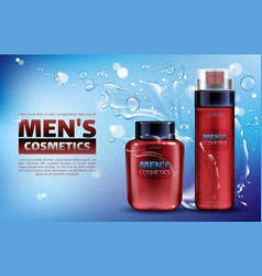 Men cosmetics shaving foam after shave lotion vector