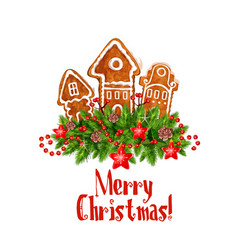 merry christmas gingerbred greeting icon vector image