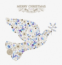 Merry christmas peace dove vintage holiday element vector image