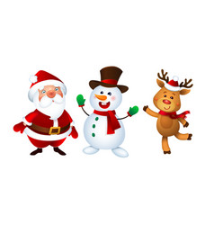 merry christmas santa claus snowman and reindeer vector image