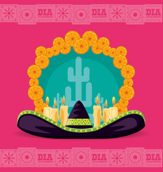 Mexican hat day of the dead party vector