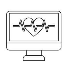 monitor heartbeat cardiology rhythm thin line vector image