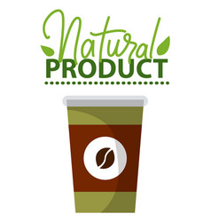 natural product paper takeaway cup with coffee vector image