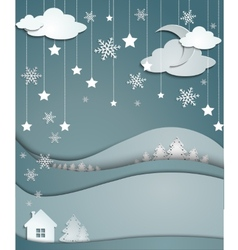 night winter background snowflakes trees house vector image