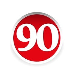Number ninety red label vector