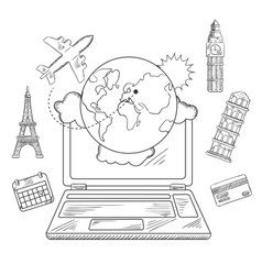 Online travel and booking service design vector image