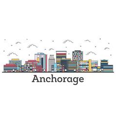 Outline anchorage alaska city skyline with color vector