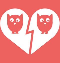 Owl family divorce icon vector