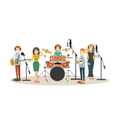 People recording tracks flat design vector