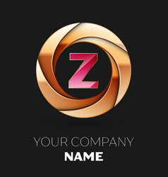 pink letter z logo symbol in golden circle shape vector image