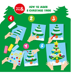 plasticine christmas tree step instruction for kid vector image