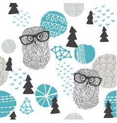 Polar owl seamless pattern vector