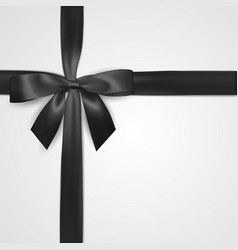 Realistic black bow with ribbon isolated on white vector