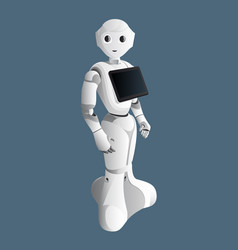 Realistic robot consultant with digital tablet vector