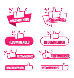 Recommended banner set paper tag for recommend vector