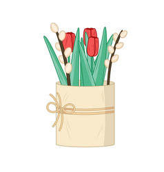 red tulips and willow catkins vector image