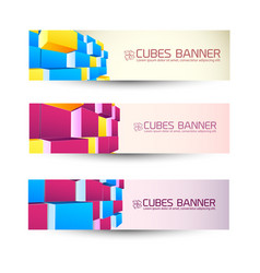 Rows of cubes banners set vector