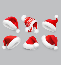 santa claus hatwinter clothes christmas 3d vector image